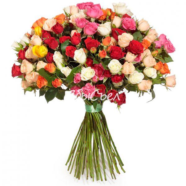 Букет цветов — «Микс кустовых роз» | 51 роза
