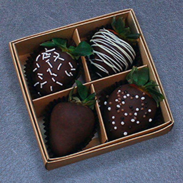 Клубника в тёмном шоколаде — набор 4 ягоды