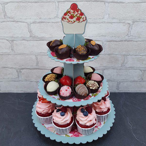 Подставка для пирожных с розами 3-ярусная